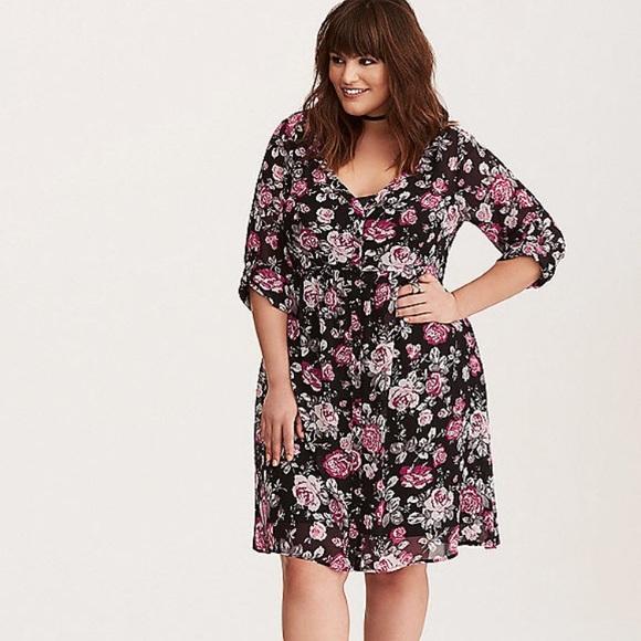 527cca55e32 NWT Torrid 3x floral chiffon shirt dress